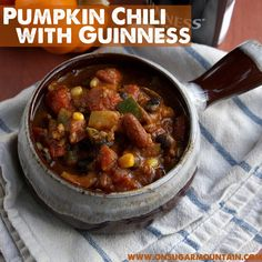 take out the guiness, frozen food, beans and make it fresh pumkin and corn!