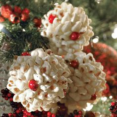 Popcorn & Cranberry ornaments.  Let's figure out how to make these and hang on swags and hutch, in front of mirrors on red ribbons.