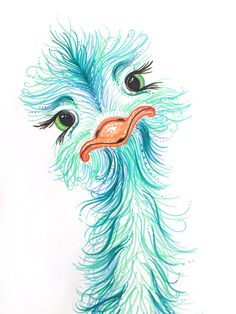 Kids Room Decor Cute Ostrich! only $19 The Color Shop by Sara on Etsy. Perfect for a nursery or kids room! Adorable original artwork done by Sara. Aqua teal blue themed room. #ostrichart #ostrichdecor #Nurserydecor