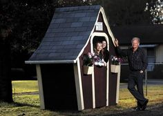 """A Marysville man built a tiny chalet to keep his grandkids dry while waiting for the bus. It was built in memory of his wife. """"She was a very fancy lady,"""" one granddaughter said. """"She loved the glam, the jewelry, the big animal jackets, pointy shoes. """" (Photo by Dan Bates / The Herald)"""