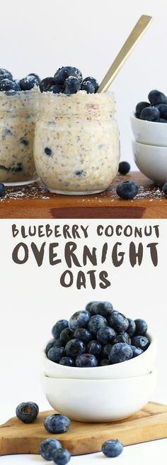 These Blueberry Coconut Overnight Oats are made with a blend of coconut and almond milk for a sweet, refreshing, and creamy grab-n-go breakfast. Blueberry Coconut Overnight Oats are made with a blend of coconut and almond milk for a sweet, refreshing, and Oatmeal Recipes, Vegan Breakfast Recipes, Brunch Recipes, Vegetarian Recipes, Daniel Fast Recipes Breakfast, Vegetarian Curry, Vegan Curry, Blueberry Overnight Oats, Overnight Oats Coconut Milk