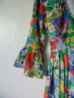 60's Ruffle Neck Peasant Dress by JuniperSailsVintage on Etsy, $38.00