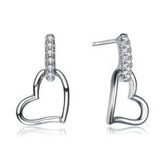 Collette Z Sterling Silver Heart & Cubic Zirconia Earrings