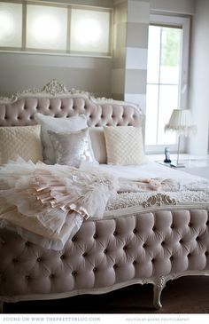 Pale pink bedroom with an ornate, tufted bed and tone-on-tone striped walls Home, Bedroom Inspirations, Home Bedroom, Home Goods Decor, Bed, Furniture, Dreamy Bedrooms, Bedroom Decor, Beautiful Bedrooms