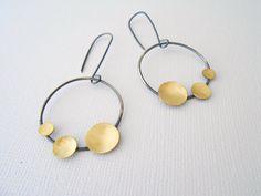 Oxidized silver earrings, unique hoop earrings, circle earrings by BLUEskyBLACKbird on Etsy https://www.etsy.com/listing/115879066/oxidized-silver-earrings-unique-hoop