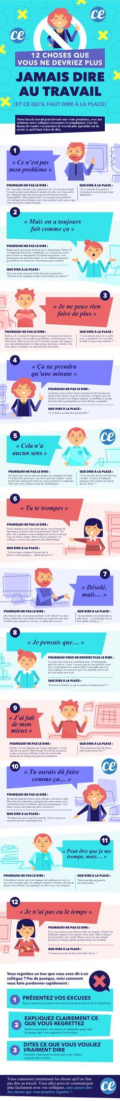 Voici l'infographie les 12 choses qu'il faut éviter de dire à vos collègues, et ce qu'il faut dire à la place !