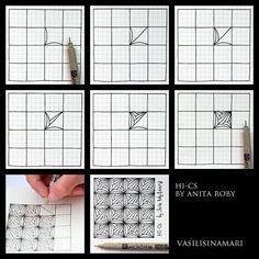 "VASILISINAMARI zentangle tutorial pattern ""HI-CS"" (узор зентангл)"