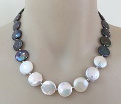 Coin Pearl Necklace makeforgood  white and peacock blue by fabrag