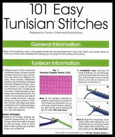 101 EASY TUNISIAN STITCHES - a really interesting set.                                                                                                                                                                                 More