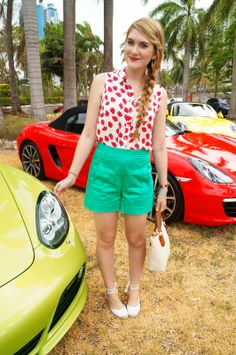Strawberry Print Shirt with Green High-Waisted Shorts