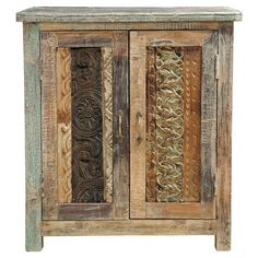 Handcrafted reclaimed wood cabinet with two doors and print block facings.  Product: CabinetConstruction Material: