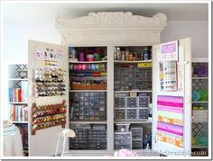 I have died and gone to craft heaven! DIY - Repurposed Craft Armoire - Perfect Budget Organization Project for a Small Space! Craft Armoire, Craft Cabinet, Craft Cupboard, Tv Armoire, Sewing Cabinet, Cabinet Storage, Budget Organization, Organizing Ideas, Countertop Organization