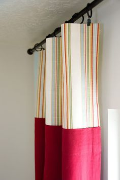 no-sew curtains: piecing together pre-made curtain panels + fabric to lengthen