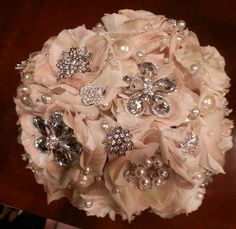 STUNNING  Ivory Blush Gem Bridal Bouquet by Elegantweddingdecor, $150.00