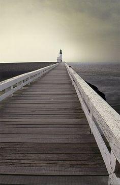 Beautiful inspirational photography - jetty with lighthouse (source: http://malinconialeggera.tumblr.com)