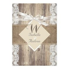 Rustic Wedding Beige White Lace Wood Burlap 2 Card