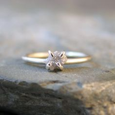 Uncut Rough Diamond Ring - Sterling Silver -  Engagement Ring - Diamond in the Rough Ring - April Birthstone Ring