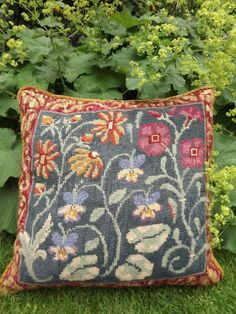 EHRMAN CANDACE BAHOUTH Completed Needlepoint Tapestry MEADOW GARDEN CUSHION #EhrmanVintageDesignerCandaceBahouth