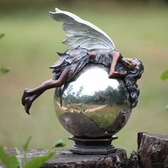 Chatelaine Bronze Color Fairy Statue (On Metal Gazing Ball)   NOT AVAILABLE  OUTSIDE OF