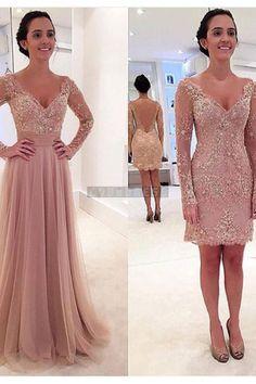 V-neck Long Sleeves Attachable Skirt Evening Dress - Shedressing.com