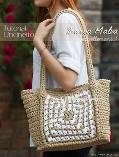 Cute Crochet Bag - not in English but photo tutorial with stitch diagram over the photo