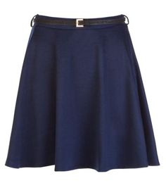 Belted Jersey Skater Skirt // from New Look // comes in Black, Gray, Green, Blue  Red //