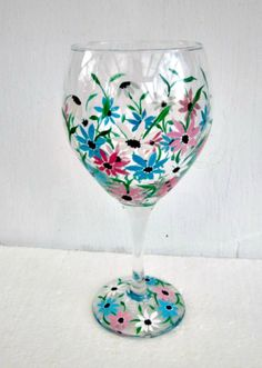 Wine Glass Hand Painted Pink and Blue Flowers by GlassGaloreGal, $10.00