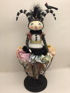 mixed media art doll Cirque by Juliehaymaker on Etsy