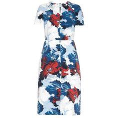 ERDEM Camilla Kita-print crepe dress (9.985 VEF) ❤ liked on Polyvore