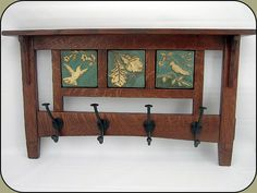 """Craftsman 4 hook Coat Rack w/ three 4"""" tiles. @Jim Kovash- you could build the rack I could do the tiles."""