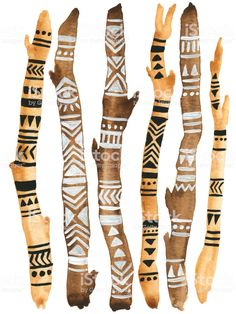 African Tribal Pattern Painted Driftwood Watercolor Boho Sticks Illustration Stock Illustration - Do Painted Driftwood, Driftwood Art, Wood Sticks, Painted Sticks, Painted Pebbles, African Culture, African Art, African Crafts, African Tribal Patterns