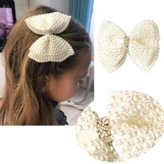 2 Pcs/lot White Rhinestone Bow For Girl Kids Cute Pearls Hair Bow With Alligator Hair Clips Beads Hairgrip Hair Accessories