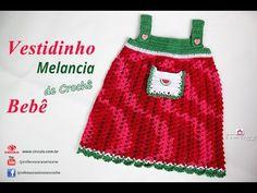 Vestido de Crochê p/ Bebê Melancia- 1 Mês - passo a passo - Simone - YouTube