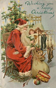 Antique Christmas Postcard Santa Claus With Sack of Toys *Embossed X-Mas Tree Diy Christmas Garland, Old Christmas, Christmas Scenes, Victorian Christmas, Retro Christmas, Outdoor Christmas, Father Christmas, Christmas Greetings, Christmas Crafts