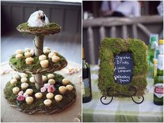 A romantic, rustic chic green and pink wedding in North Carolina filled with burlap, gingham and candles. Photography by Live View Studios Woodland Party, Woodland Wedding, Rustic Cupcakes, Cupcake Display, Cupcake Stands, Moss Decor, Terrarium Wedding, Bridal Musings, All Family