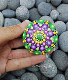 Image of Mini Mandala Stone Fall 7 - Dot Art Painting, Mandala Painting, Pebble Painting, Mandala Art, Stone Painting, Pebble Art, Mandala Painted Rocks, Mandala Rocks, Rock Painting Ideas Easy