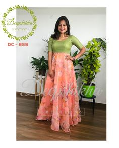 Gorgeous olive green and peach color combination floor length dres with floral design. DC - 659 For queries kindly whatsapp: 9059683293 Long Dress Design, Stylish Dress Designs, Baby Dress Design, Stylish Blouse Design, Stylish Dresses, Long Gown Dress, Saree Dress, Churidar Designs, Kurta Designs Women