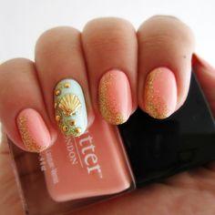 Pink + Mint Beach Seashell Nails