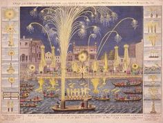 Handel wrote the Music for the Royal Fireworks for the public celebrations of the Peace of Aix-la-Chapelle. - Etching of the original fireworks display in London's Green Park, 1749 Fireworks Music, Fireworks Show, Fireworks Displays, Chinese Fireworks, Nogent Sur Marne, Ancient Music, Carpeaux, Fire Works, Time To Celebrate