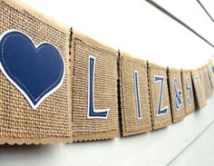 Custom COUPLES NAMES Kraft and Burlap Banner with Hearts, Names up to 13 Letters.  Etsy.