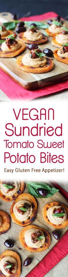 These vegan sundried tomato sweet potato bites make a great easy gluten free holiday appetizer recipe for entertaining this festive season!