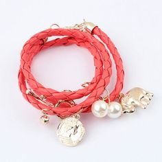Price:$8.99 Material: Alloy Color: Blue / White / Red / Black Pearls Elephant Coin Pendant Braid String Bracelet