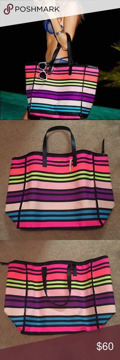 SALE! NWT VS Multi-Striped Getaway Tote This tote is brand new with tags! It is super gorgeous with these bright colors and fun stripes! It is HUGE when opened, can literally fit all of your weekend getaway needs! Or is a great tote to take to the beach! This tote is great for anything and everything! Victoria's Secret Bags Totes