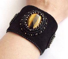 Bead embroidery cuff bracelet black suede by nefertitijewelry2009, $65.00