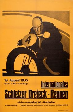 Schleizer Motorcycle Race 1935 - original vintage poster listed on AntikBar.co.uk
