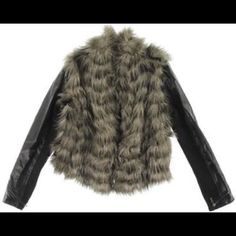 "HOST PICKfaux bomber jacket  Multi colored faux fur open front bomber jacket. Features full lining with removable faux leather sleeves. Sleeves are faux leather on top and knit sweater on bottom. No pockets,high collar,and three hook & eye front closures. Sleeve length 24.5"". Guess Jackets & Coats"