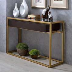 Go glam with your living room or dining room décor with the Acme Furniture Yumia Sofa Table . This sleek console table features a metal framework. Sofa Table Decor, Table Decorations, Gold Sofa, Coffee Table With Drawers, Acme Furniture, Console Table, Entryway Tables, Room Decor, Interior Design