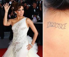 Pin for Later: The Ultimate Celebrity Tattoo Gallery Eva Longoria Eva Longoria celebrated her marriage to Tony Parker by getting his basketball jersey number, nine, tattooed on the back of her neck in 2008.