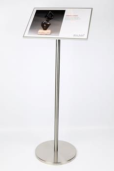 stainless info stand with 11 x 14 signage plate in lanscape position