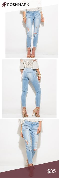 Coming/Distressed Ripped Skinny Jeans.  Mid Rise. Distressed Skinny Jeans.  Ripped. Firm Price. Jeans Skinny